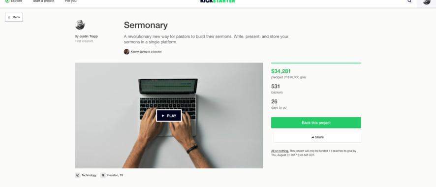 Sermonary Kickstarter